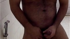 Horny Indian Guy teasing in bathroom and playing with his big cock! _)